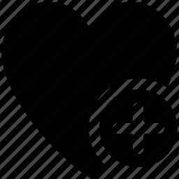 heart, heart shape, like, plus sign icon