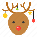 christmas, deer, reindeer, snow, winter icon