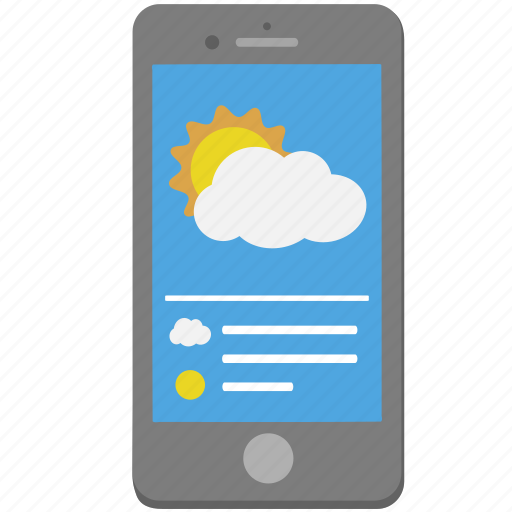 cloud, iphone, phone, smartphone, sun, weather icon
