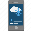 iphone, phone, smartphone, snow, weather icon