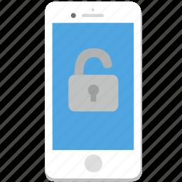 iphone, lock, password, phone, smartphone, unlock icon