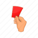 card, cartoon, football, red, sign, specify, violation icon