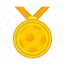 award, cartoon, competition, football, medal, sign, success icon