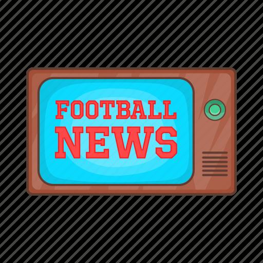 broadcasting, cartoon, football, news, retro, sign, tv icon
