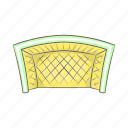 cartoon, football, goal, kick, mesh, protect, sign icon