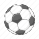 ball, cartoon, football, sign, soccer, sport, white icon