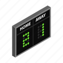 board, game, isometric, score, scoreboard, team, time icon