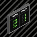 board, game, isometric, score, scoreboard, team, time