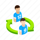field, football, isometric, leaving, player, sport, team icon