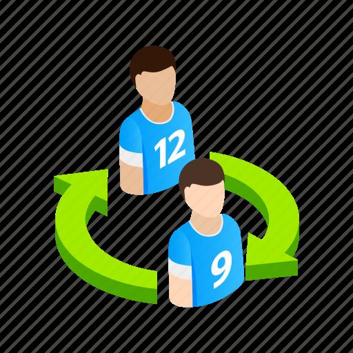 field, football, isometric, leaving, player, sport, team icon