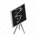 blackboard, chalk, chalkboard, diagram, football, isometric, strategy icon