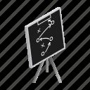 blackboard, chalk, chalkboard, diagram, football, isometric, strategy