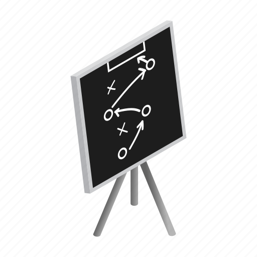 blackboard, chalk, chalkboard, diagram, football, isometric, strategy icon