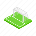 field, football, goal, isometric, net, soccer, sport icon