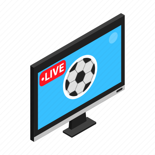 football, isometric, match, soccer, sport, television, tv icon