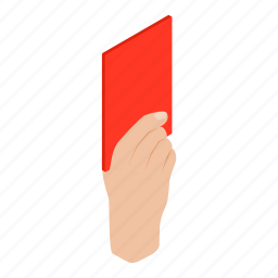 card, foul, hand, isometric, referee, soccer, sport icon