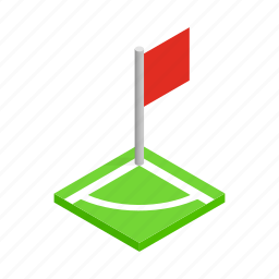 competition, field, flag, football, isometric, soccer, sport icon