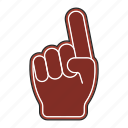 big hand, fan, football, support icon