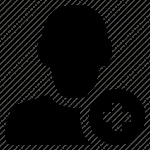 add, friend, man, plus, profile, social, user icon