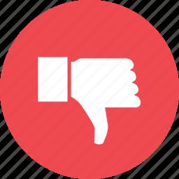 dislike, down, hand, hate, negative, reject, thumb icon