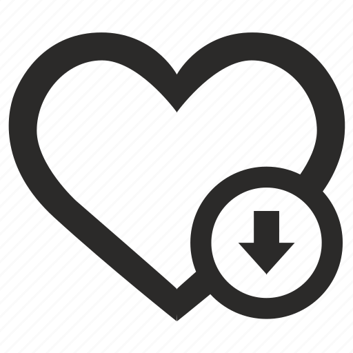 down, heart, like, position, social, web icon