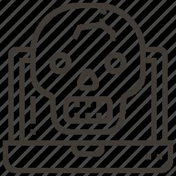 bone, device, laptop, skull icon