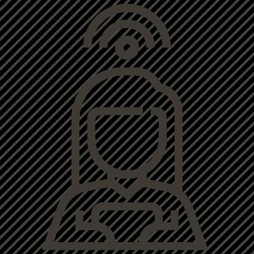 signal, wifi, woman icon