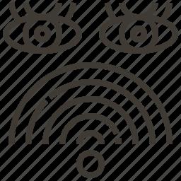 eyes, signal, watch, wifi icon