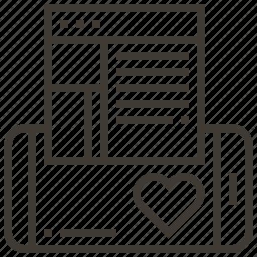device, favorite, heart, like, webpage icon