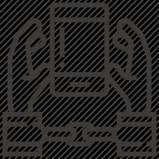 device, handcuffs, hands icon