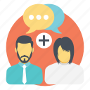 better communication, cheerful discussion, positive talks, social connection, social interaction icon