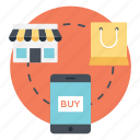 ecommerce, mobile marketing, online shopping, online store, shopping and delivery icon
