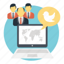gr, online interaction, social connection, social media network, twitter, web connectivity icon