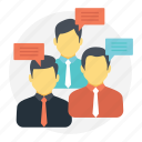 business gathering, group chat, group discussion, people communication, social community icon