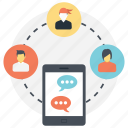 group chat, mobile communication, mobile messaging, online conversation, social connection icon