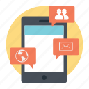 global connection, group chat, information technology, messaging, mobile communication icon