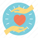 benefactor, benevolence, charity volunteers, heart care, heart love hands icon