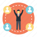 cheerful interaction, community network, happy social circle, social connection, successful meeting icon