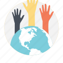 community initiatives, crowd diversity, global assistance, helping hands, volunteers icon