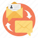 correspondence, email service, internet communication, online marketing, outgoing mail icon