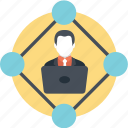 assistance, coordination, internet connectivity, man working online, online management icon