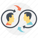 collaborative lifestyle, human interaction, mutual brainstorming, social connection, teamwork icon