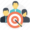 accumulated mission, goal achievement, group target, success measurement, targeted audience icon