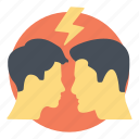 aggressiveness, conflicts, confrontation, expressions and emotions, personal dispute icon