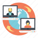 online communication, video conference, video meeting, web chat, webinar icon