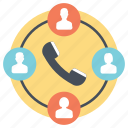 group calling, phone group, social connection, telecommunication, telephone chat icon