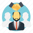 conciliator, intermediary, mediator, middleman, negotiator icon