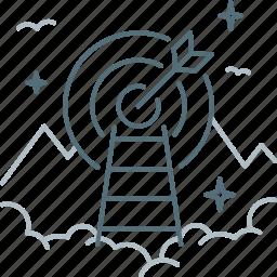 aim, dartboard, ladder, purpose, stairs icon