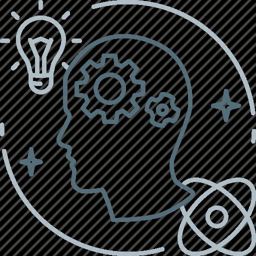 brain, brainstorm, creative, gears, idea, proactive, think icon