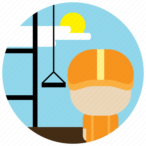 clouds, construction, helmet, ladder, sun, worker icon